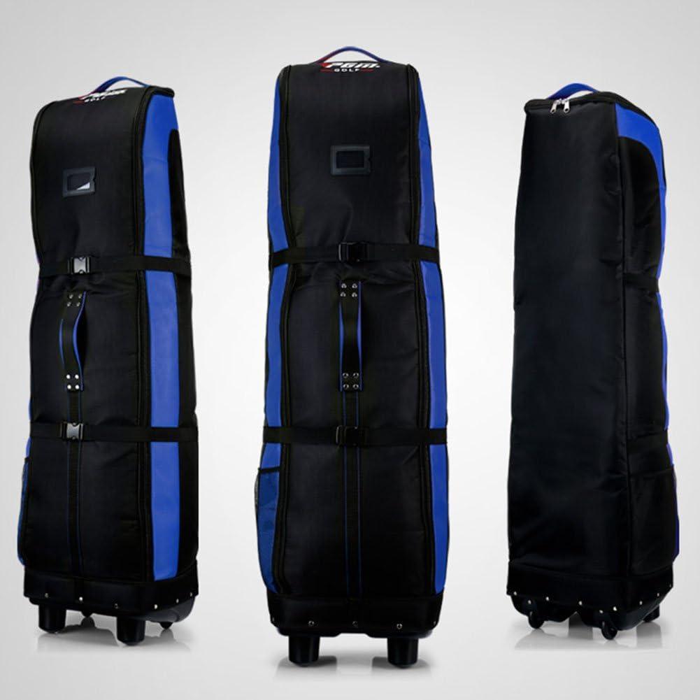 PGMゴルフ旅行バッグカバー-ダブルデッキ、太く、防水ナイロン、with Base ブラック-ブルー