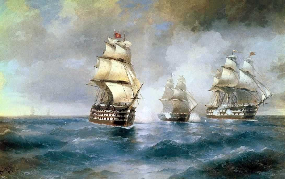 Ivan Constantinovich Aivazovsky Brig Mercury Attacked of Two Turkish Battleships - 24'' x 36'' 100% Hand Painted Oil Painting Reproduction
