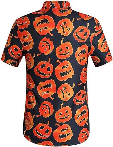 LbojailiAi Camiseta De Manga Corta Con Estampado De Calabaza De Halloween, Camisa Con Cuello Vuelto, Blusa Casual Para Hombre: Amazon.es: Ropa y accesorios