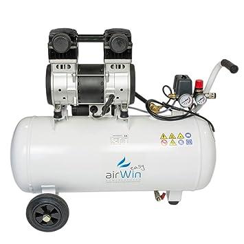 Airwin Silencioso unidad de aire comprimido Compresor sin aceite 1,5 kW/230 V, 8 bar, 50 L Hervidor, 200 L/min Potencia de aspiración: Amazon.es: Bricolaje ...