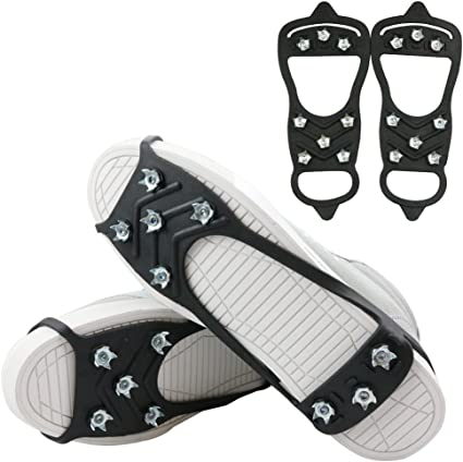 Black 8-Stud Anti-Slip Shoes Cover Snow Shoe Spikes Grips Outdoor Ice Crampon Tool