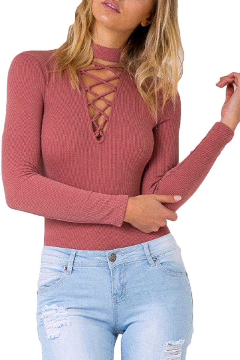 Mulisky Women's Lace Up Bandage Tight Bodysuit Cross Solid Jumpsuit Leotard S