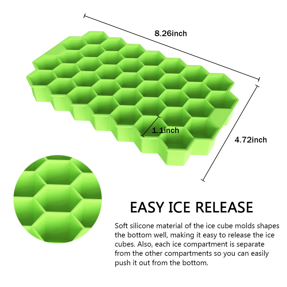 Ouddy 2 Pack Silicone Ice Cube Molds with Removable Lid Green /& Purple Stackable Flexible Totally 74-Ice Trays for Whiskey Cocktail Ice Cube Trays