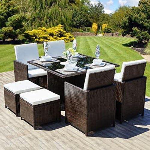 Ratán cubo conjunto muebles de jardín 8 plazas juego de mimbre al aire libre marrón: Amazon.es: Jardín