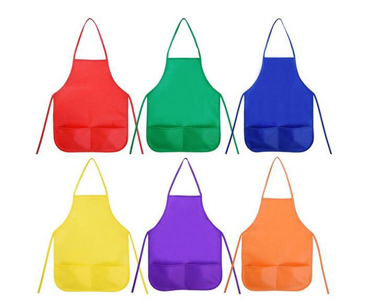 Set of 6 Assortted Colour Children Kids Painting Aprons Art Smocks with 2 Pockets for Painting and Baking Flyott