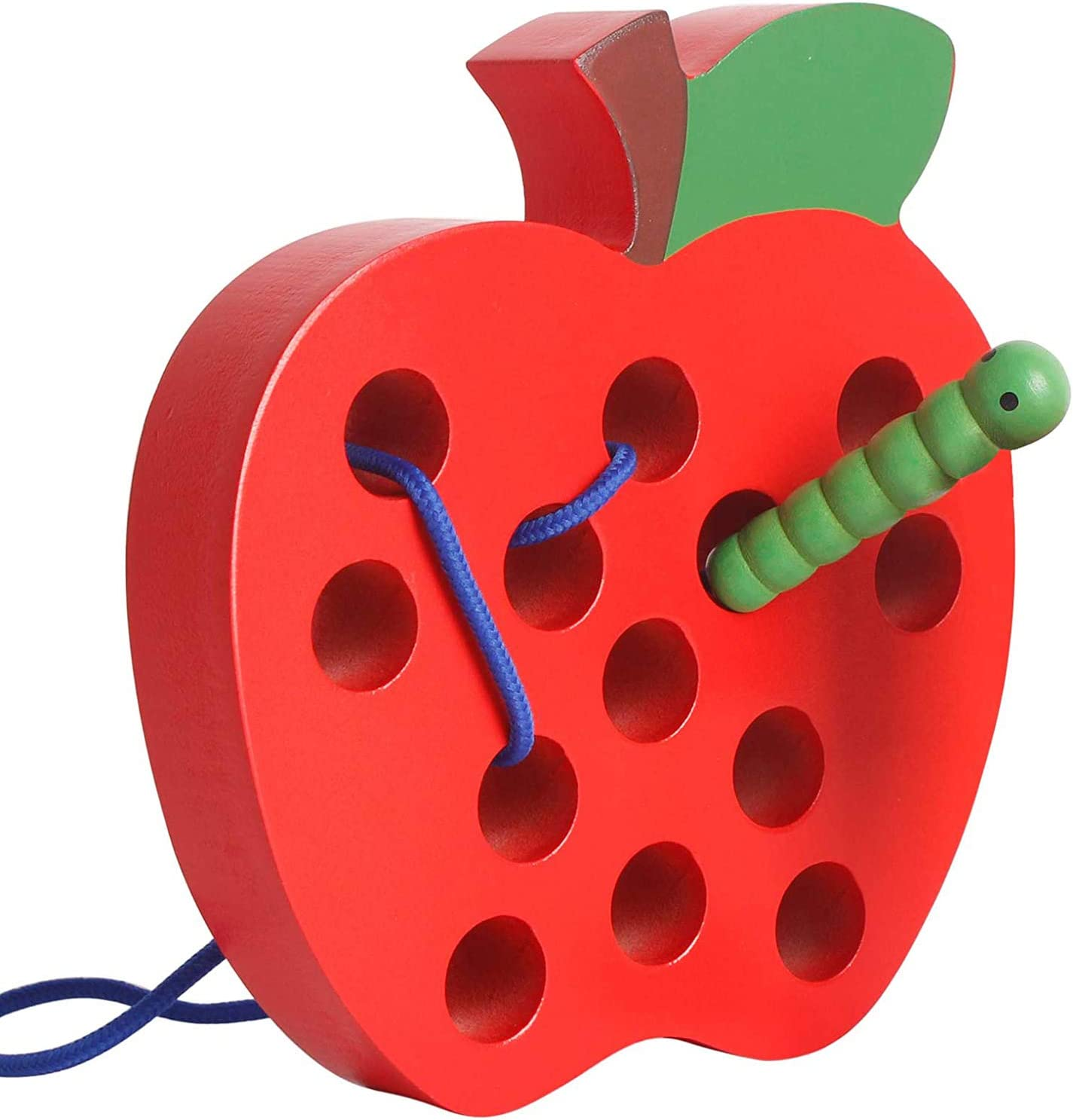 SGVV90 Wooden Apple Lacing Threading Weaving Worm Toy, Fun Learning Toy Travel Size Fine Motor Skill Montessori Early Learning Educational Toy Gift for Toddler Baby Kids