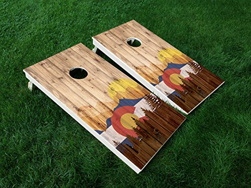 DISTRESSED Colorado 04 COLORADO STATE FLAG CORNHOLE WRAP SET Vinyl Board DECAL Baggo Bag Toss Boards MADE IN the USA