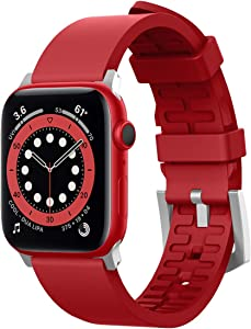 elago Sport Band Compatible with Apple Watch Band 38mm 40mm 42mm 44mm for iwatch Series 6/SE/5/4/3/2/1 - Premium Fluoro Rubber Material (Red)