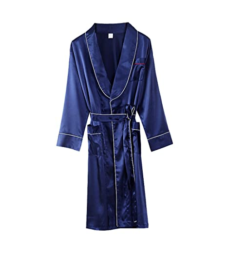 DAFREW Pijama de Seda para Hombres Bata de Manga Larga - Primavera, otoño e Invierno