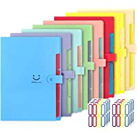 EOOUT 8pcs Expanding File Folders, 5 Pockets A4 Letter Size Snap Closure Plastic Accordion Document Organizer with 64pcs…
