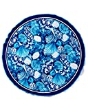 Blue Shells Brazilian Velour Beach Towel 63 Inches Round