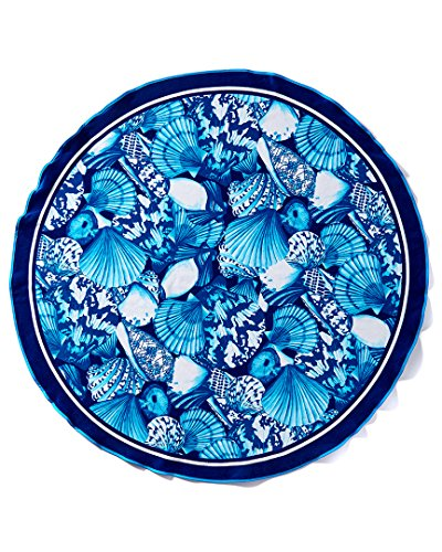 Blue Shells Brazilian Velour Beach Towel 63 Inches Round by Dohler