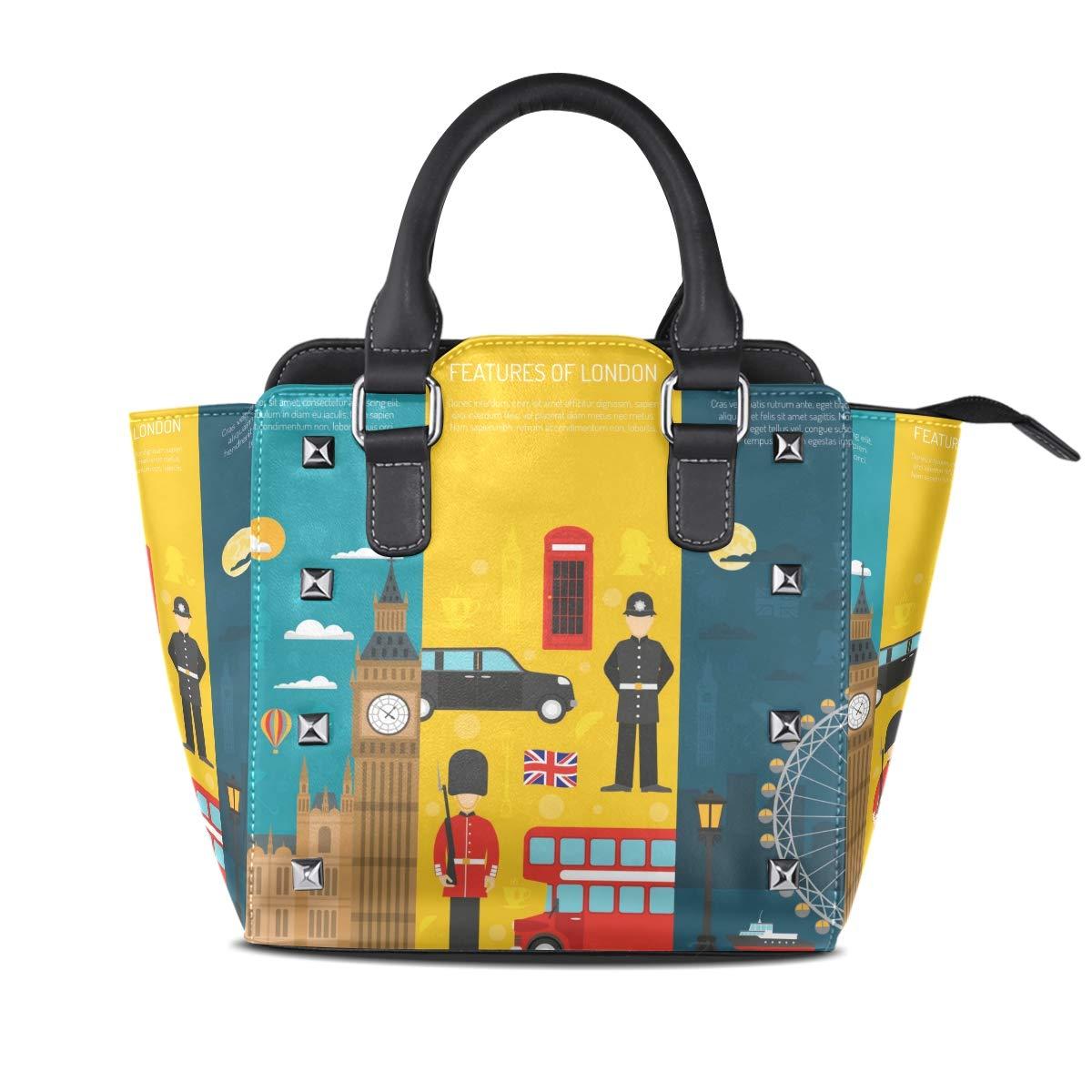 Design5 Handbag England Flags Genuine Leather Tote Rivet Bag Shoulder Strap Top Handle Women