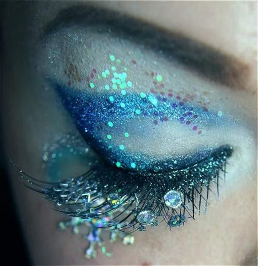 COKOHAPPY 8 Boxes Sky Blue Glitter Mermaid Dreams Ultra-thin Festival Holographic Cosmetic Chunky Sequins Iridescent Flakes Hexagon Tips Mixed Paillette Face Body Hair Nails Cosmetic Glitter by COKOHAPPY (Image #3)