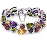 HERMOSA Classic Ladies Bracelet Garnet White Topaz Amethyst Citrine Peridot Pink Topza 7 Inches (7 Inches)