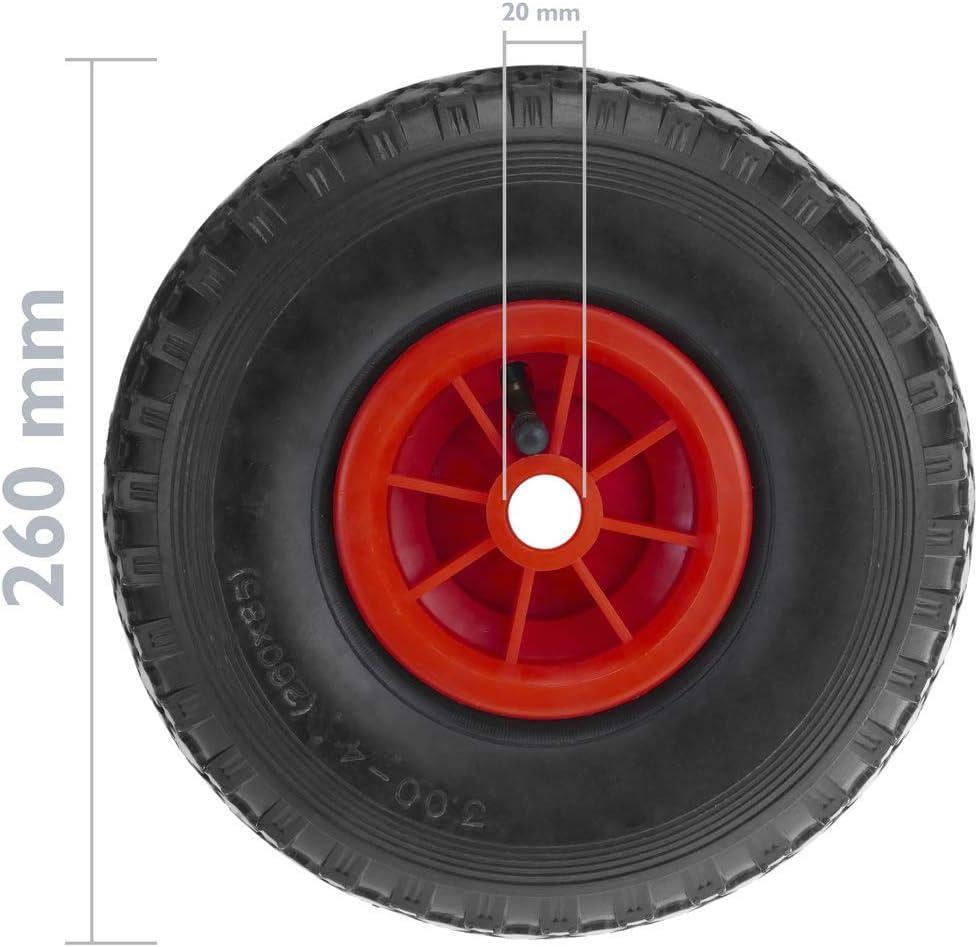 Rueda neum/ática de Carretilla 2-Pack 70 Kg 10x3 260x85 mm para carros y Plataformas de Transporte PrimeMatik