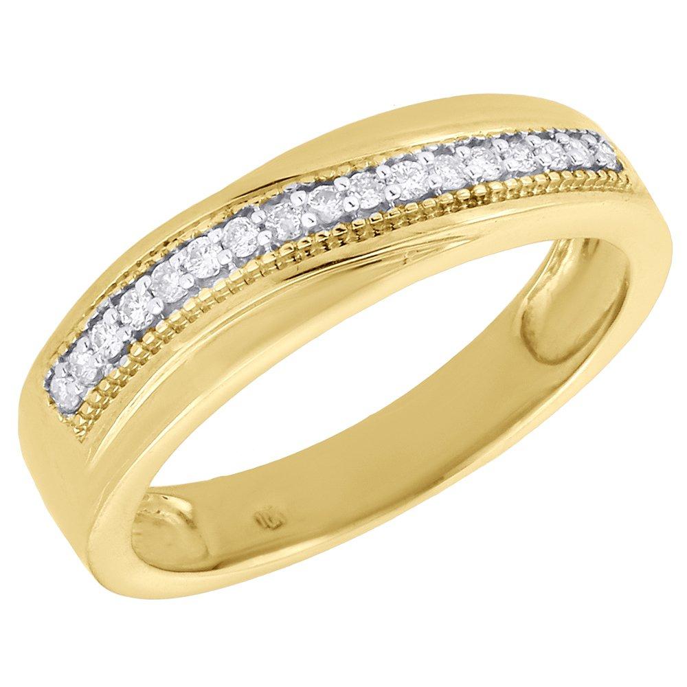 10K Yellow Gold Round Diamond Mens Wedding Band Milgrain Engagement Ring 0.16 Cttw