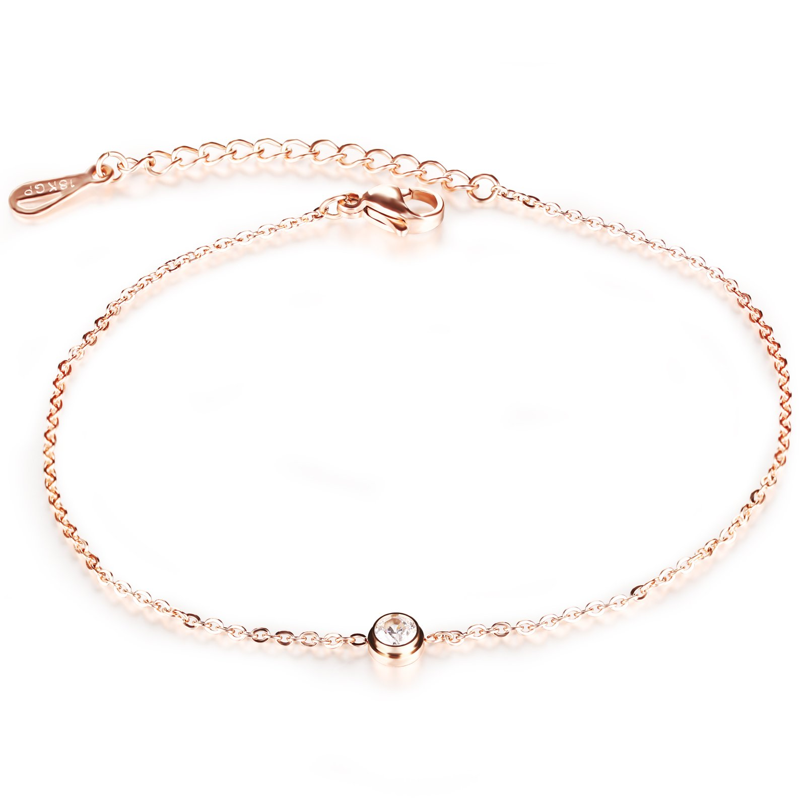 Women's Anklet 18K Rose Gold Tone Lucky CZ Foot Chain Summer Accessory Adjustable L8.46''