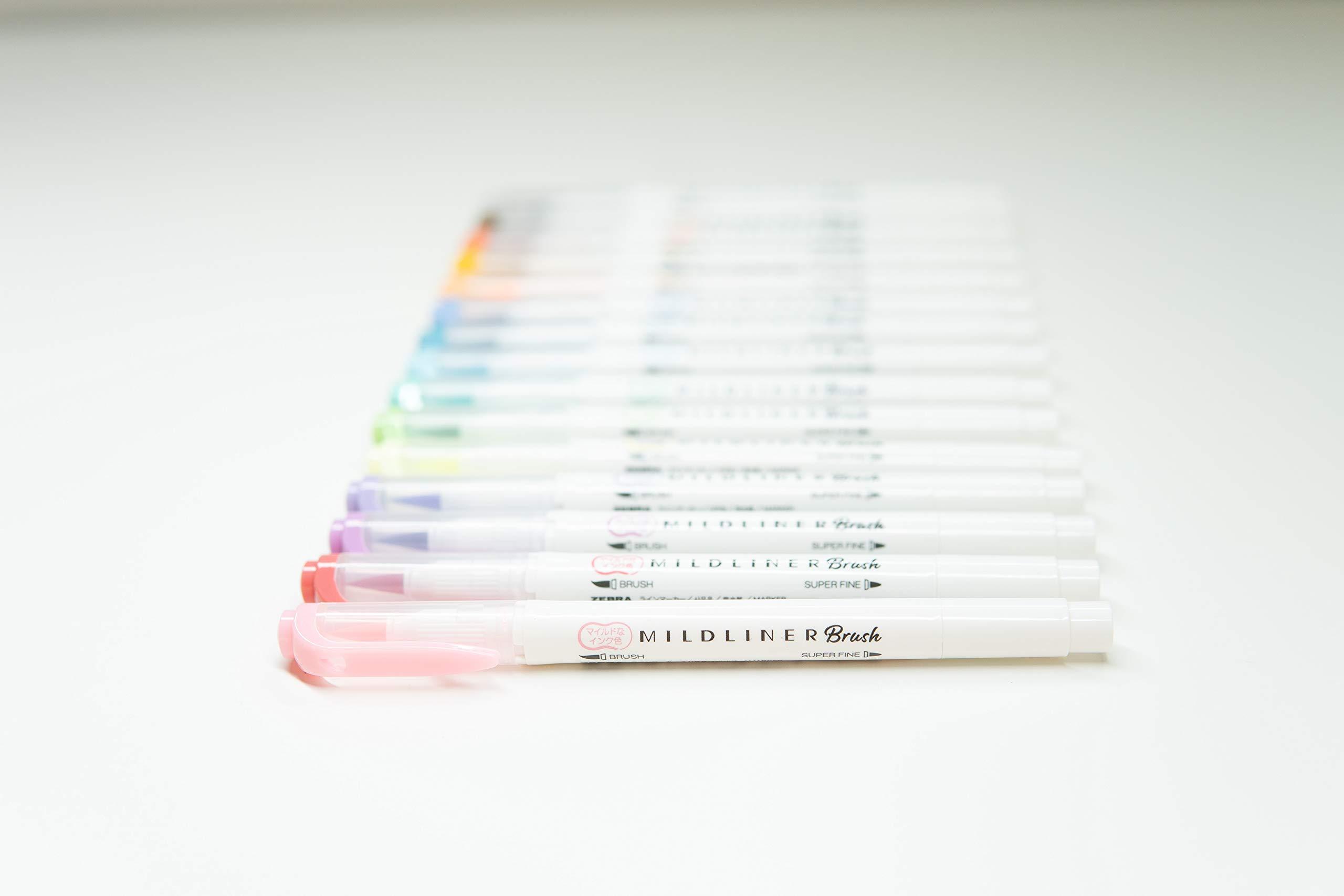 Zebra Pen Mildliner Double Ended Brush and Fine Tip Pen, Assorted Colors, 15-Count by Zebra Pen (Image #5)