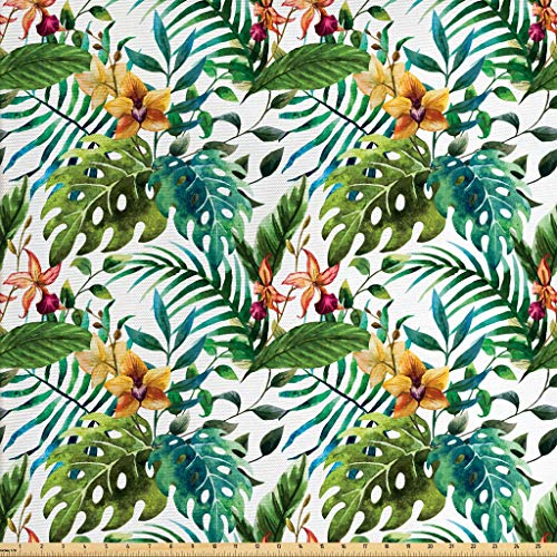 Ambesonne Leaf Fabric by The Yard, Vintage Retro 60s Seem Banana Palm Tree Leaves Flowers Hibiscus, Decorative Fabric for Upholstery and Home Accents, 2 Yards, Pale Caramel Burgundy and Green