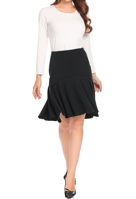 Zeagoo Women High Elastic Waist Flare A-line Full Midi Office Skirt with Belt S-XL