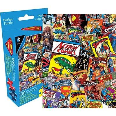 Aquarius DC Comics Superman Collage 100 Piece Adult Pocket Jigsaw Puzzle: Toys & Games