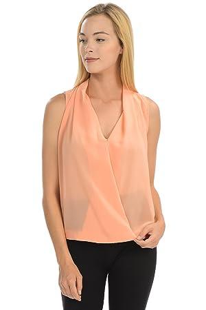 Women's V Neck Sleeveless Office Tank Blouse Top (small, orange)