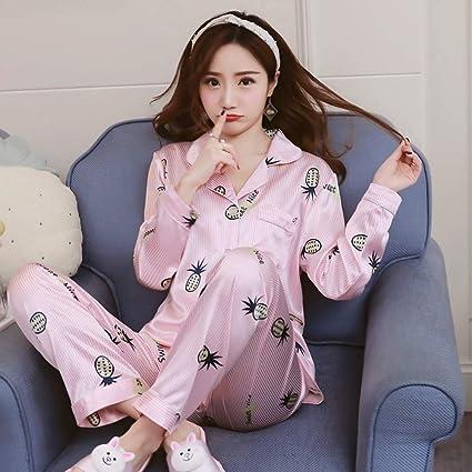 baujuxing Pijama de Seda de Dos Piezas camisón Chaqueta de ...