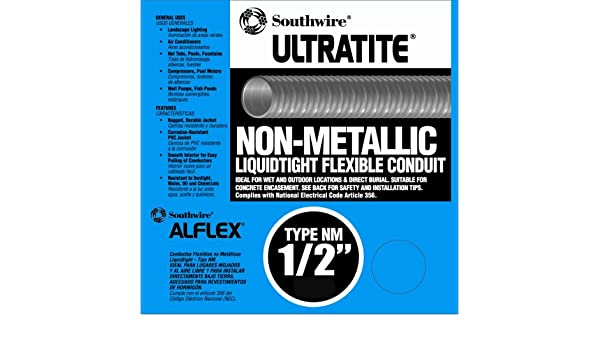 Southwire 55094222 Liqua Flex 1/2-Inch by 50-Feet Non-Metallic Liquidtight Flexible Conduit - Electrical Conduit - Amazon.com