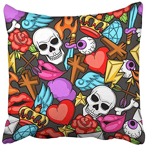 Throw Pillow Cover 20X20 Inch Polyester Skull with Retro Tattoo Symbols Cartoon Old School Funky Gothic Halloween Sugar Arrow Bone Decorative Pillowcase Two Sides Square Print for