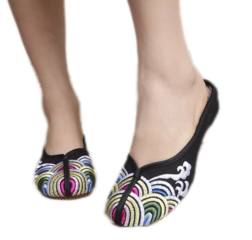 AvaCostume Women's Chinese Style Wave Print Low Heel Slippers Sandals Casual Size 38 Black
