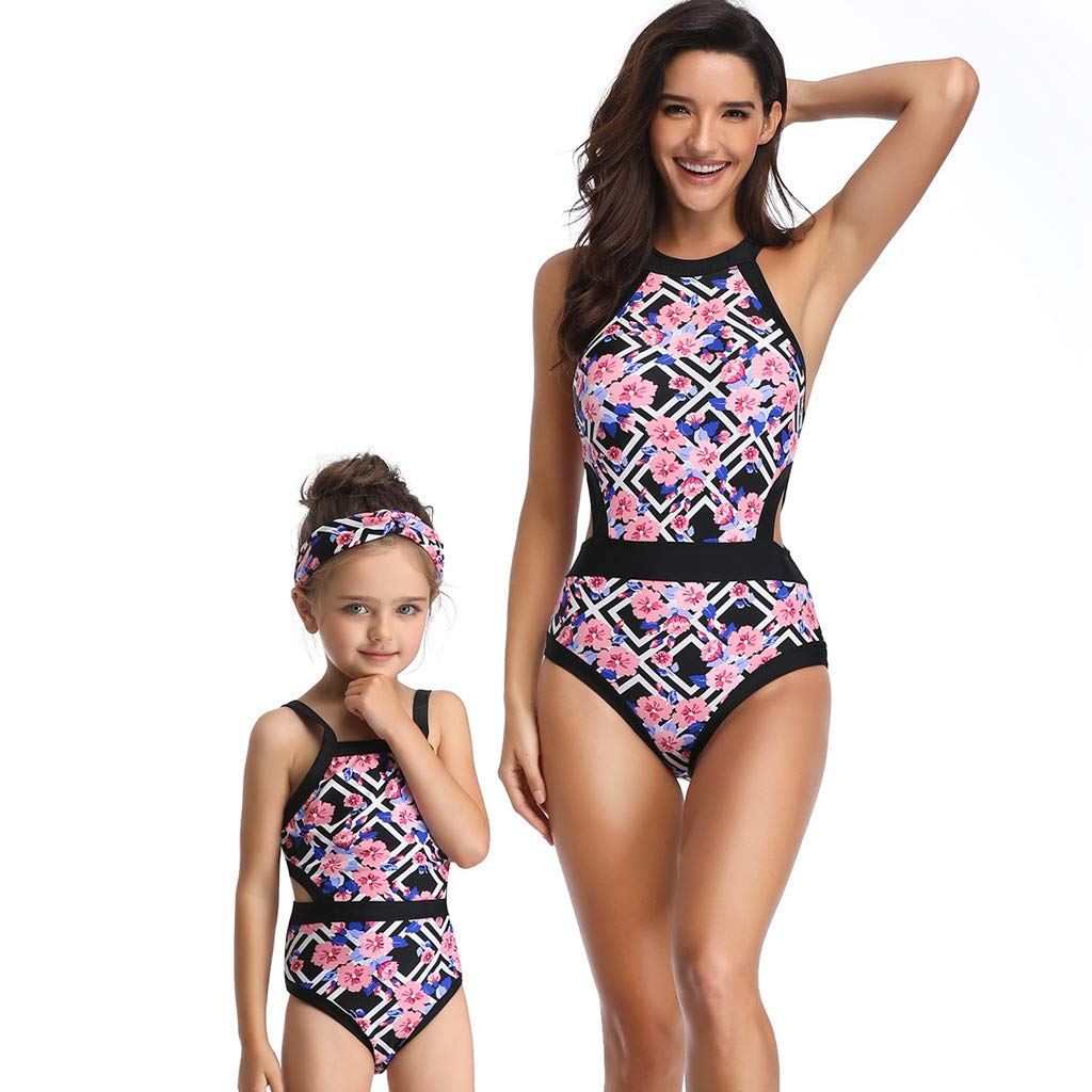 Xinantime Costumi da Bagno Bambina Donna Intero Vestito Genitore-Figlio Floreale Stampato Bambini Monokini Carina Mare Fascia Trikini 3-6Anni