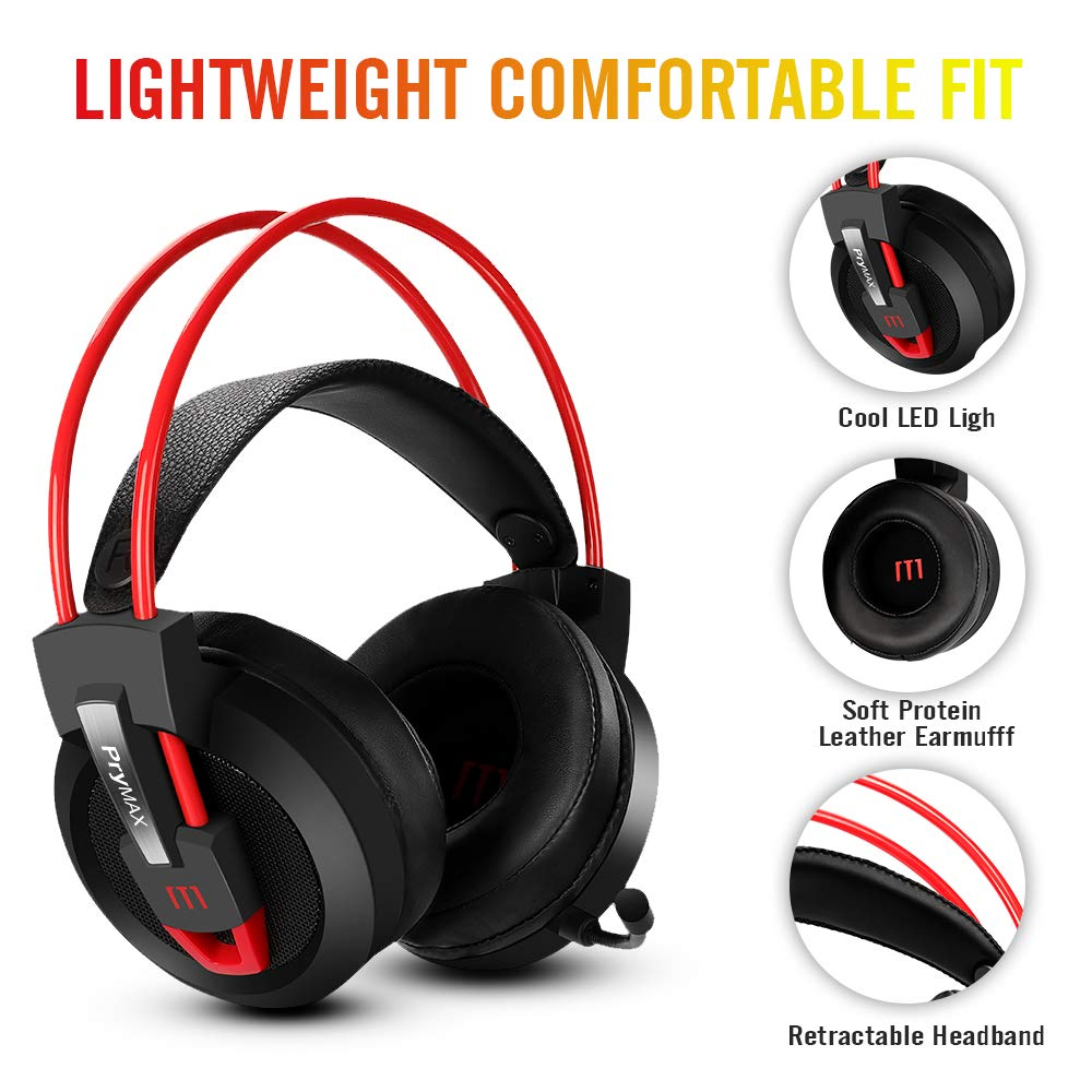 7d257dba863 Amazon.com: Gaming Headset, Prymax Gaming Headphones USB 7.1 Surround Sound  Headset with 360° Adjustable Noise Canceling Mic, Crystal Clear Sound, ...