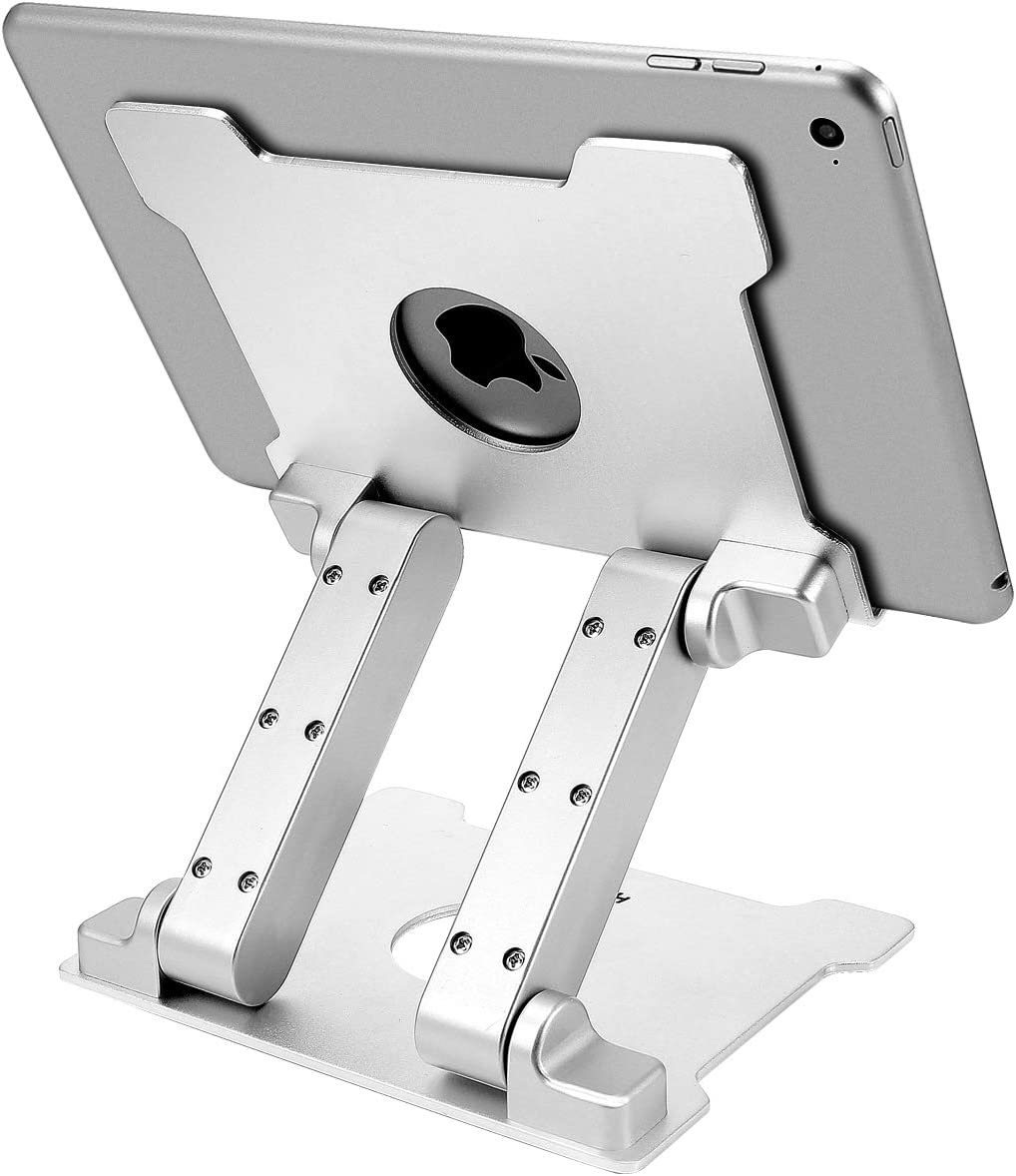 KABCON Quality Tablet Stand,Adjustable Foldable Eye-Level Aluminum Solid Up to 15-in Tablets Holder for Microsoft Surface Series Tablets,iPad Series,Samsung Galaxy Tabs, Kindle Fire,Etc.Silver: Computers & Accessories