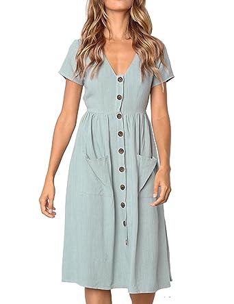 d67060b3c3a Mubineo Women Summer Plain Button Up Short Sleeve V Neck Casual Pockets T  Shirt Dress at Amazon Women s Clothing store