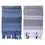 Micoop Premium Military Shemagh Tactical Desert Scarf Wrap(2 Pack) (Blue and White)