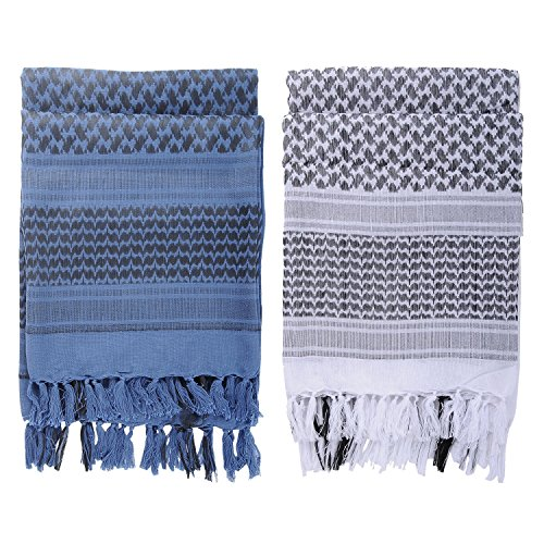 Micoop Premium Military Shemagh Tactical Desert Scarf Wrap(2 Pack) (Blue and White) by Micoop