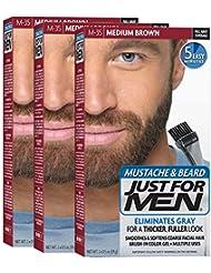 Just For Men Mustache & Beard Brush-In Color Gel, Medium Brown (Pack of 3)