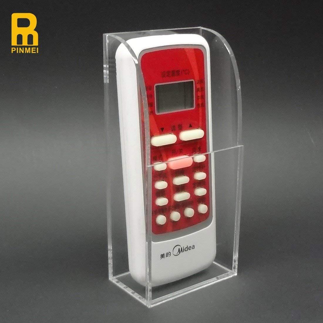 PINMEI Acrylic Remote Control Holder Wall Mount Media Organizer Box TV Remote Control Holder TV Remote Caddy Organizer