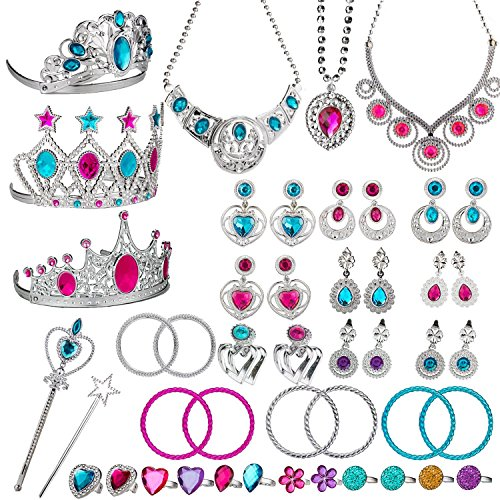 WATINC 46Pack Princess Pretend Jewelry Toy,Girl's Jewelry Dress Up Play Set,Included Crowns, Necklaces,Wands, Rings,Earrings and Bracelets,46 -