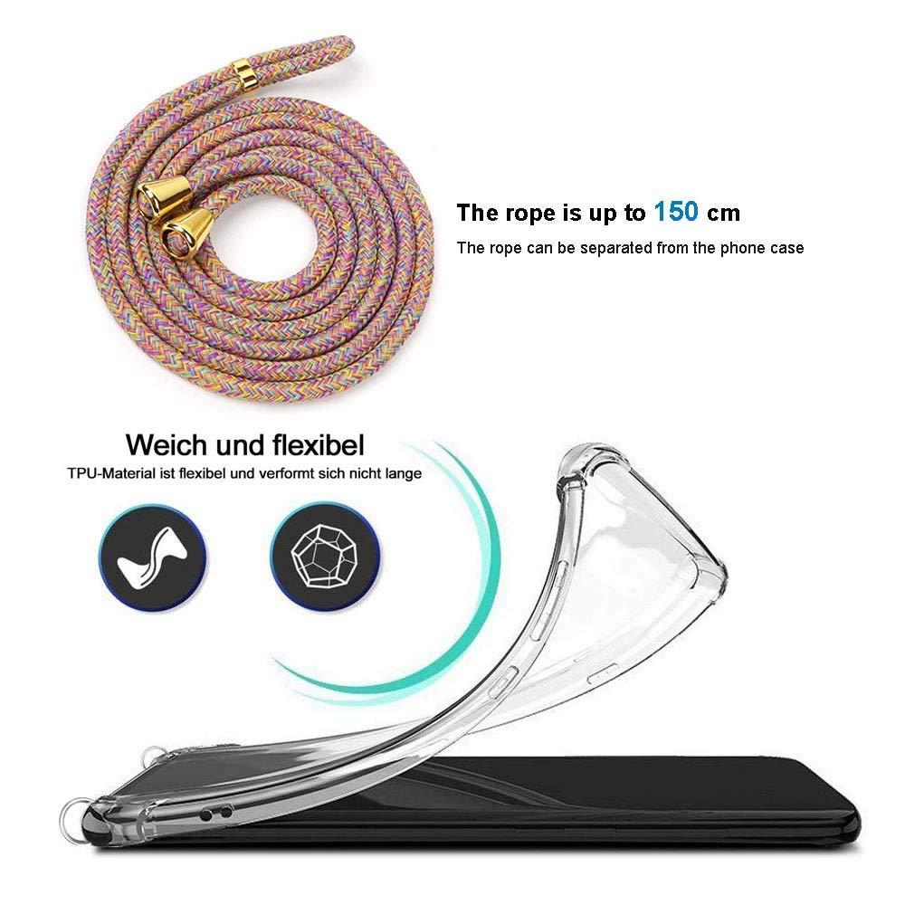 Anti-rasgu/ños Moda y Practico Suave Silicona Transparente TPU Carcasa de movil con Colgante//Cadena Anti-Choque YuhooTech Funda con Cuerda para Xiaomi Mi 9,