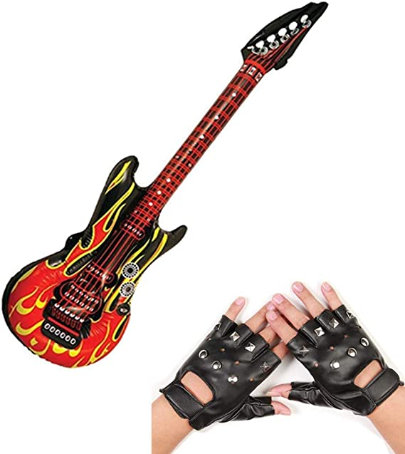 Inflatable Zebra Rockstar Guitar 92cm Rocker Fancy Dress Costume Accessory