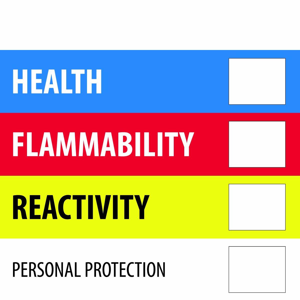 DL1286 Tape Logic Instructions Label Blue//Red//Yellow 4 L x 4 W LegendHealth Flammability Reactivity