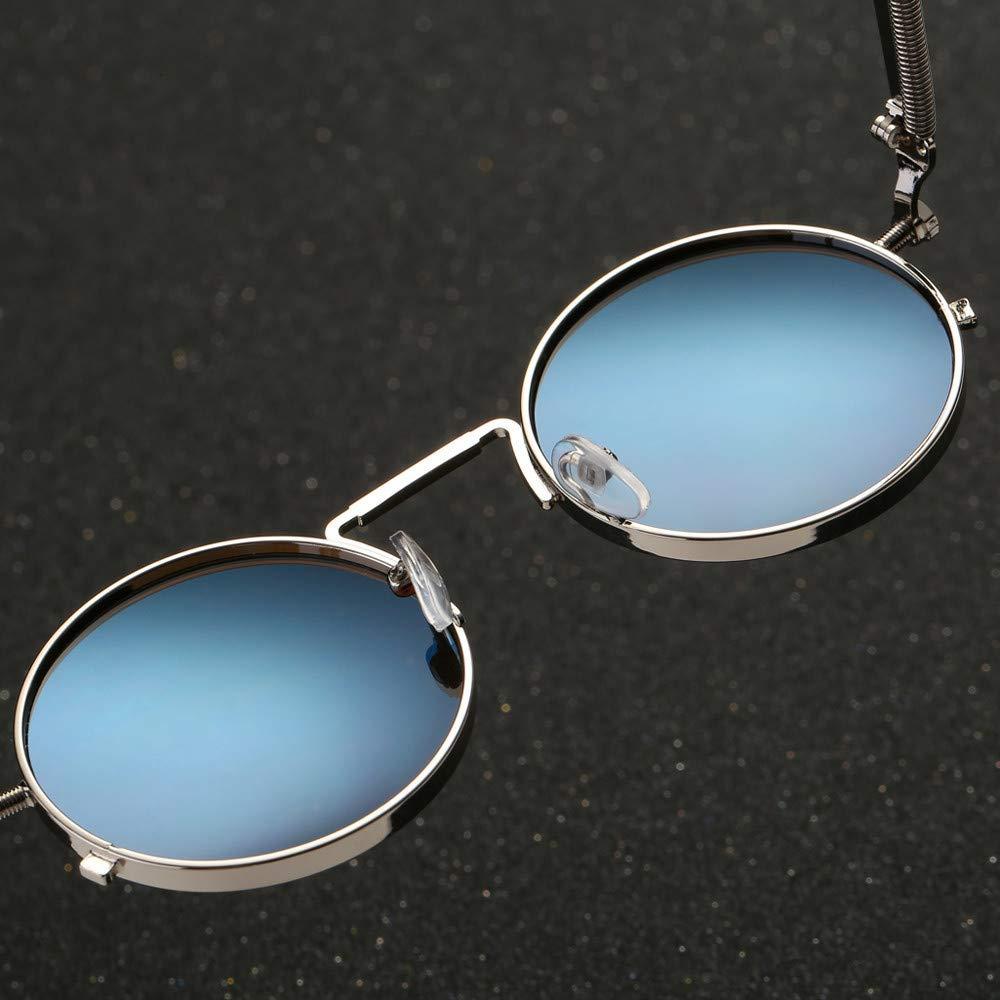 REALIKE Unisex Sonnenbrille High-Mode Neon Farben klare Linse Gl/äser Metall Brillengestell Klassische Rund Rahmen Brille Sunglasses /Übergro/ße Travel Eyewear Farbe : A-G