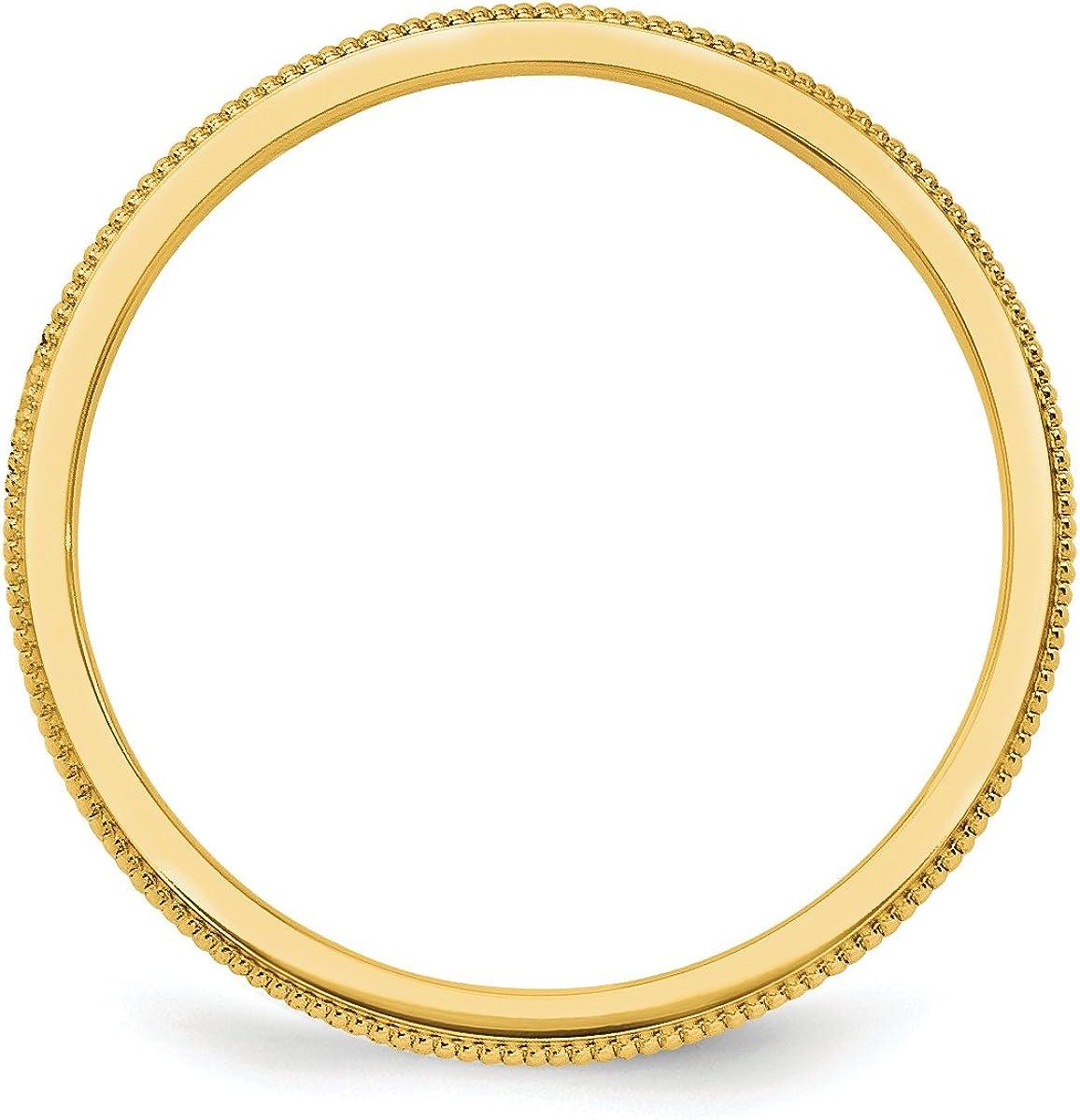 14K Yellow Gold 1.5mm Milgrain Band