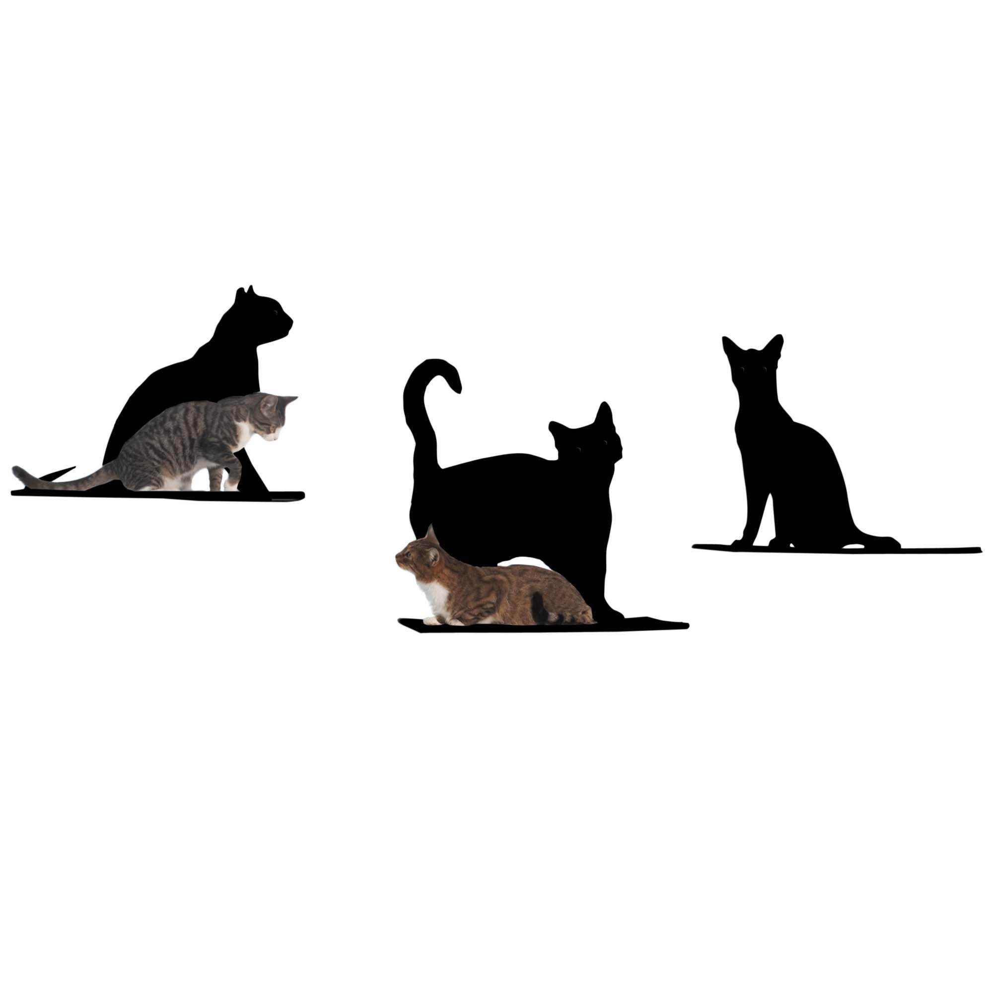 Cat Silhouette Cat Shelves 3 Piece Set Black