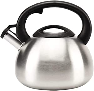 Stainless Steel Whistling Kettle with Silicone Handle Gas Kettle Home Thickened Kettle Food Grade 304 Stainless Steel Induction Cooker Gas General Automatic Whistle,2.5L