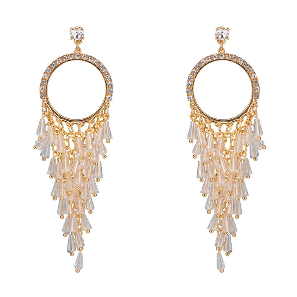New Fashion Handmade Crystals Feather Tassels Statement Earrings For Women Gold Plated (K) by Mrsrui