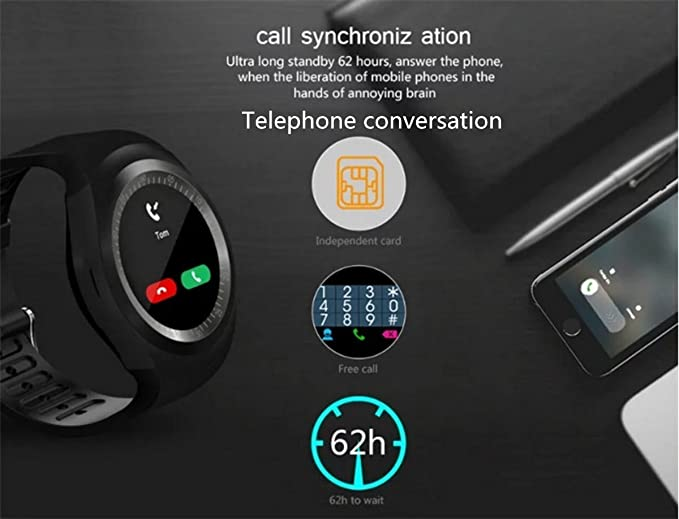 ... Touch Screen Cell Phone Watch with SIM TF Card Slot SmartWatch Pedometer Sleep Monitor Remote for Android Phones (White): Cell Phones & Accessories