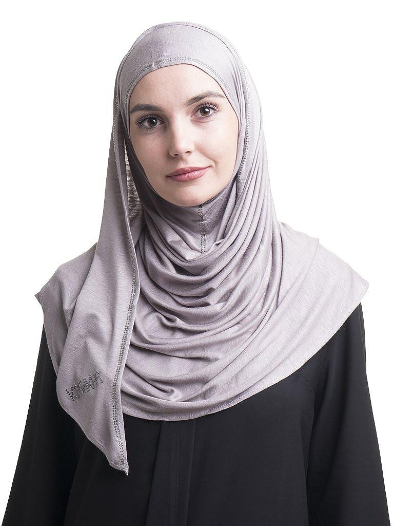 Grey Kashkha Ready To Wear Instant Hijab with Rhine Stone Border